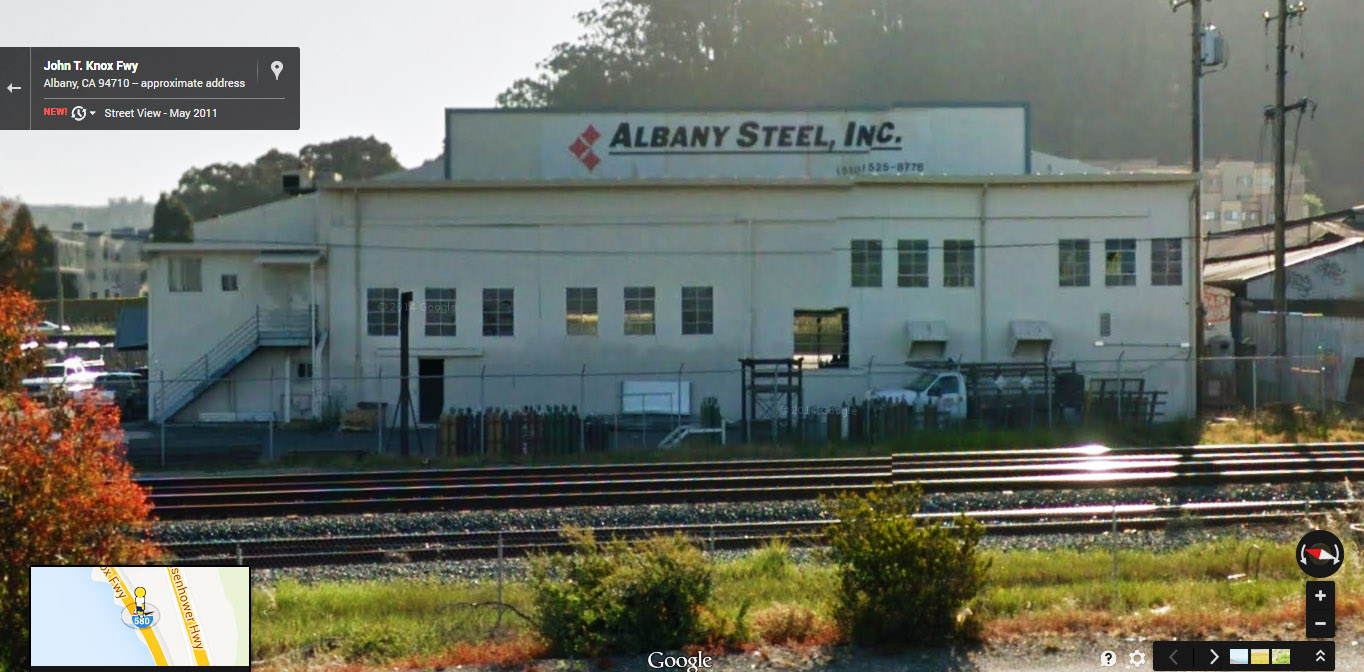 Albany Steel building. Large sign is about 8 x 54 feet.